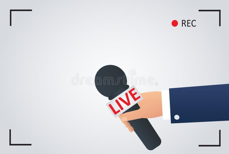 Иллюстрация новостей на ТВ фокуса и живет с показателем рамки камеры репортер с микрофоном, символом журналиста иллюстрация вектора