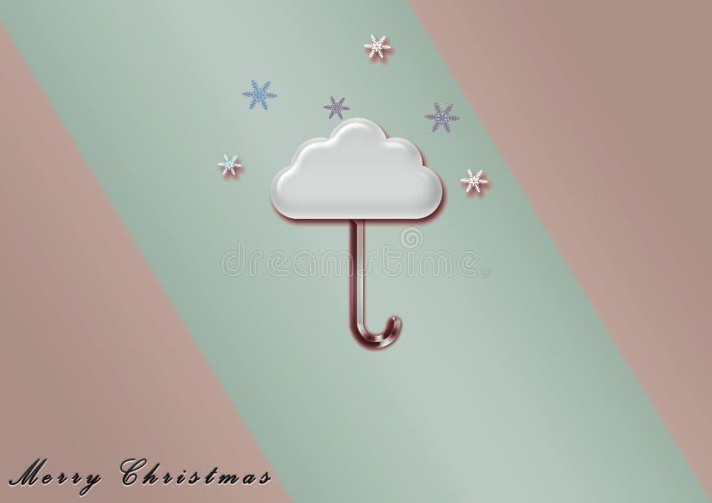 Иллюстрация облака зонтика с Рождеством Христовым, обои стоковые фотографии rf