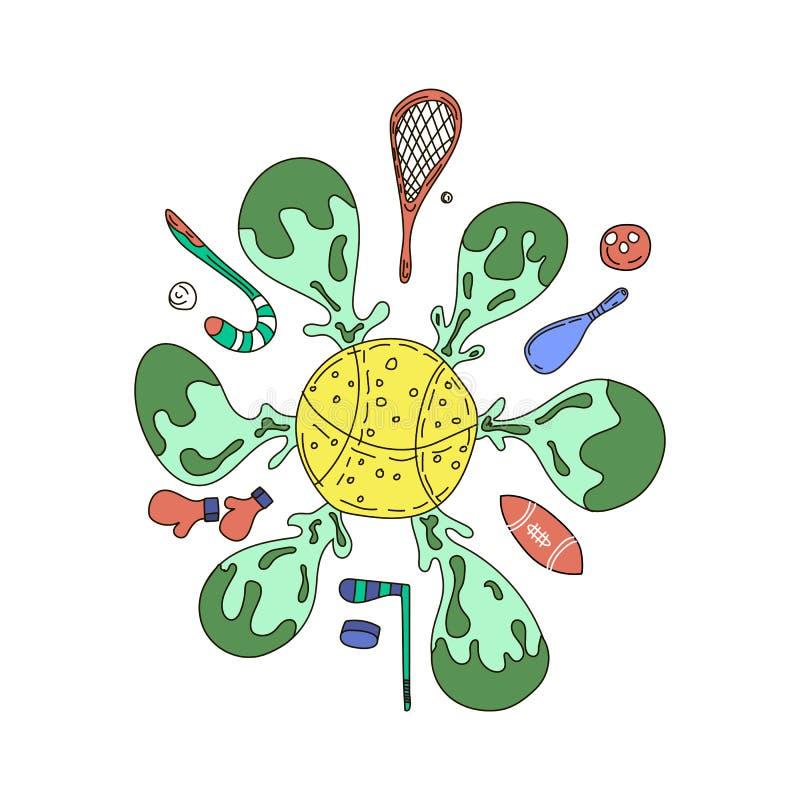 Иллюстрация оборудования спорта вектора Детали тренировок спорт Ракетка и летучая мышь для иллюстрации игры спорта иллюстрация штока