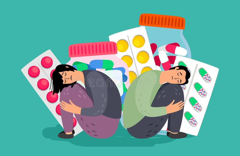 Иллюстрация обработки депрессии иллюстрация штока