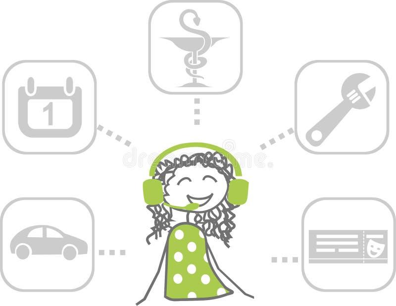 Иллюстрация обслуживаний которые консьерж или работник службы рисепшн могут представить иллюстрация вектора