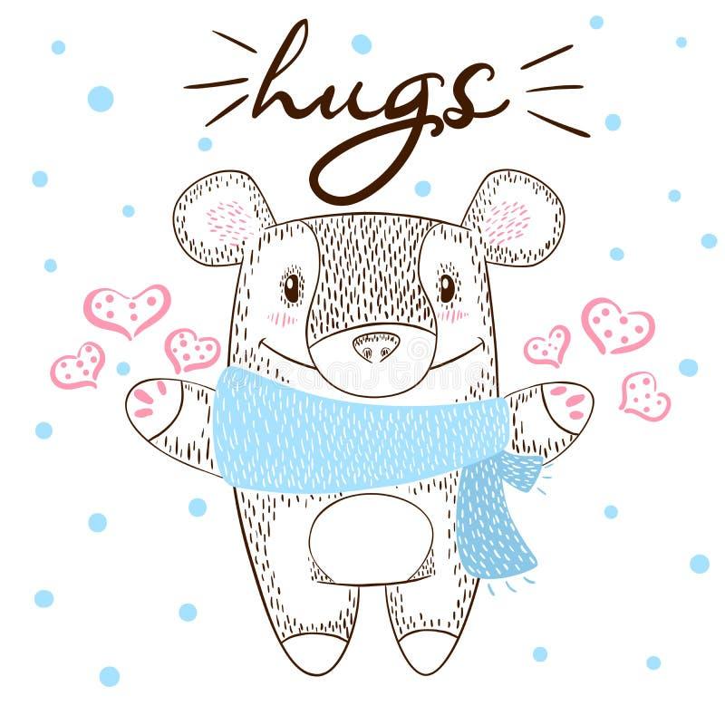 Иллюстрация объятий милого медведя огромная Влюбленность и зима иллюстрация вектора