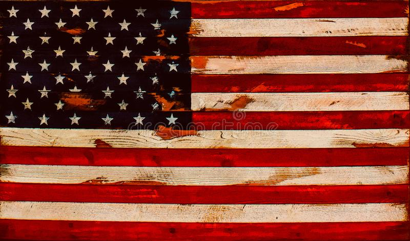 Иллюстрация - огорченный американский флаг старых доск - предпосылка или элемент иллюстрация вектора