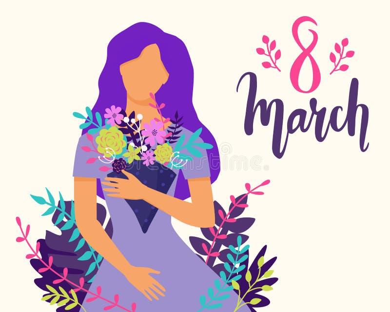 Иллюстрация 8-ое марта вектора счастливая с красивым букетом удерживания женщины цветков Ультрамодная поздравительная открытка Ме иллюстрация штока