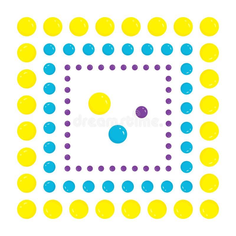 Иллюстрация от набора красочных рамок и круглых шариков, квадратных гирлянд для того чтобы украсить бумажные ярлыки или изображен иллюстрация вектора