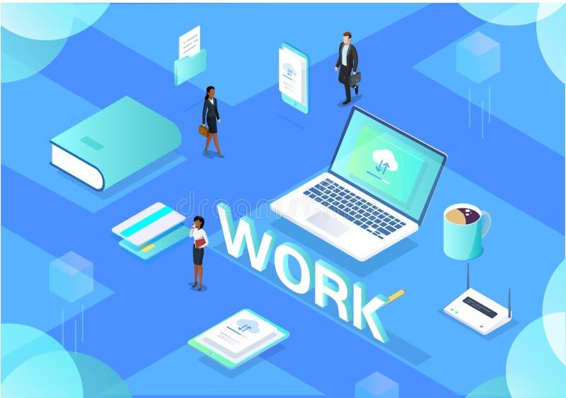 Иллюстрация офиса рабочего места равновеликая иллюстрация вектора