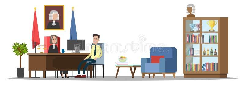 Иллюстрация офиса судьи здания суда внутренняя плоская иллюстрация вектора