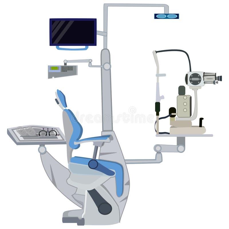 Иллюстрация офтальмического вектора оборудования плоская иллюстрация штока
