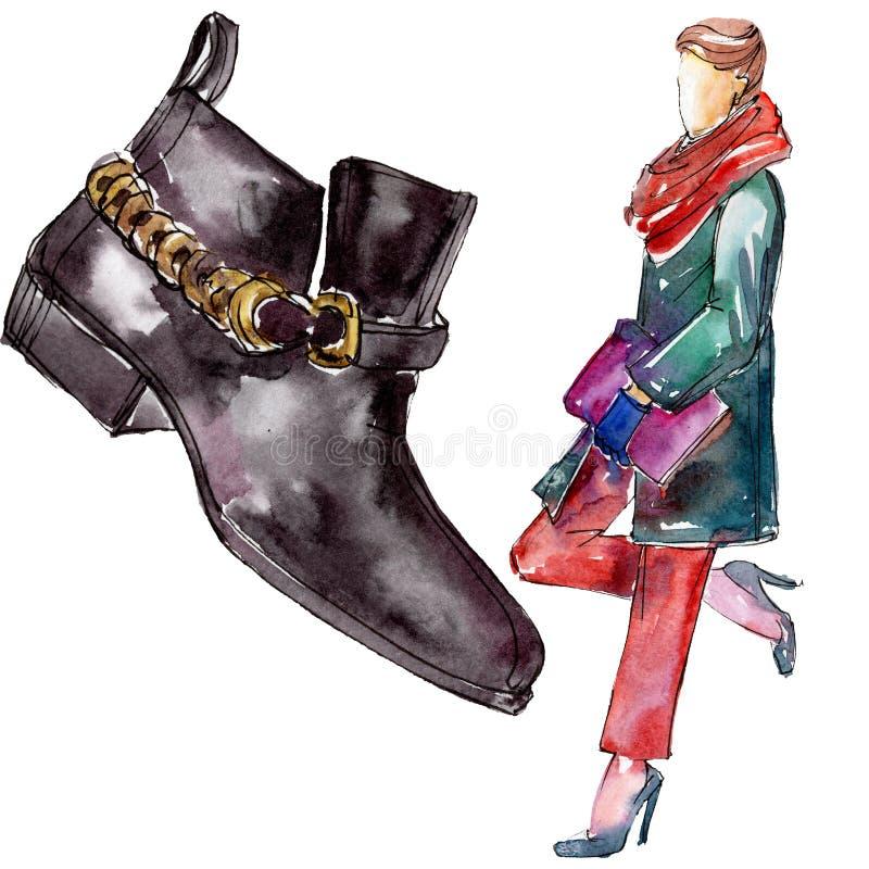 Иллюстрация очарования эскиза женщины и ботинка в элементе акварели изолированном стилем Набор предпосылки Watercolour бесплатная иллюстрация