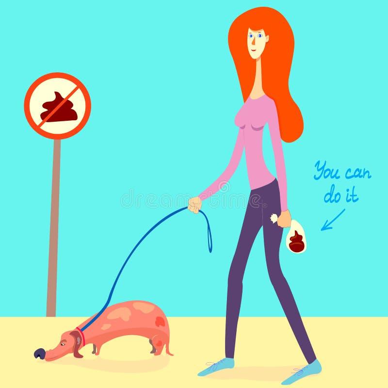 Иллюстрация о комплектовать вверх корму вашей собаки Славная девушка скомплектовала вверх дерьмо собаки и положить ее в бумажный  иллюстрация штока