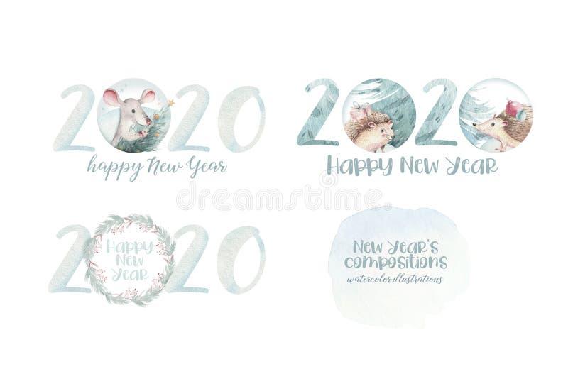 Иллюстрация падуба рождества акварели веселая Колокол рождества и веселые chistmas закавычат, шаблон для дизайна  бесплатная иллюстрация