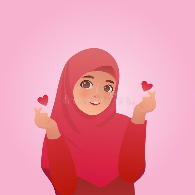 Иллюстрация пальца любов жеста корейская, милая иллюстрация мультфильма иллюстрация штока