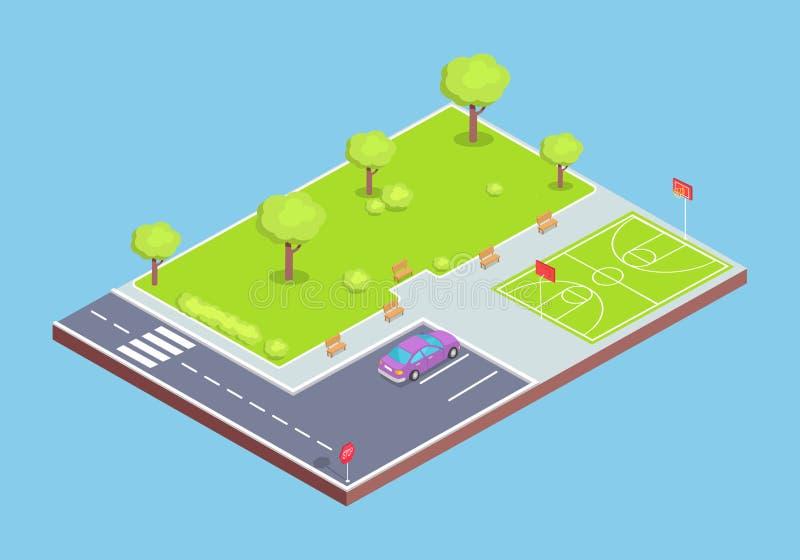 Иллюстрация парка, места для стоянки и спортивной площадки иллюстрация штока