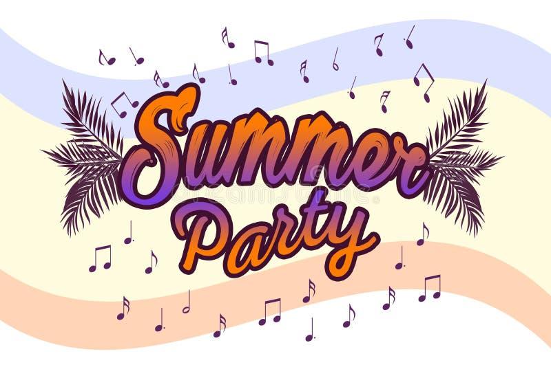 Иллюстрация партии лета Фраза плаката лета Изображение искусства лета Рукописное знамя, логотип моды или ярлык Красочная нарисова бесплатная иллюстрация