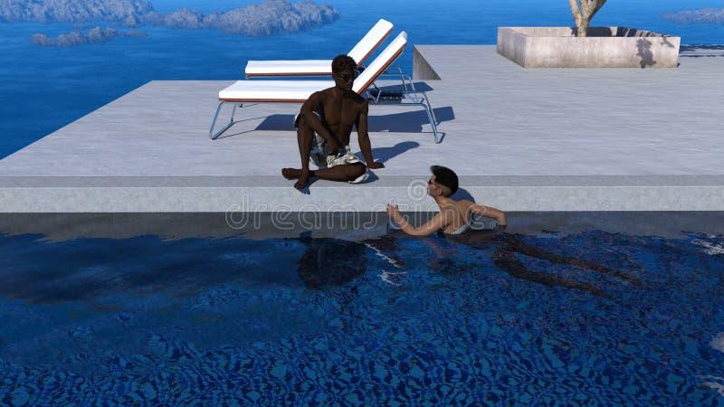 Иллюстрация пары ослабляя на каникулах иллюстрация штока