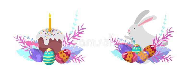 Иллюстрация пасхи с покрашенными яйцами и цыпленком Установите милых людей персонажей из мультфильма пасхи Праздник весны вектора иллюстрация вектора