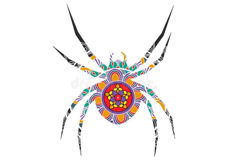 Иллюстрация паука doodle плана руки вычерченная украшенная с орнаментами zentangle Рисовать на хеллоуин иллюстрация штока