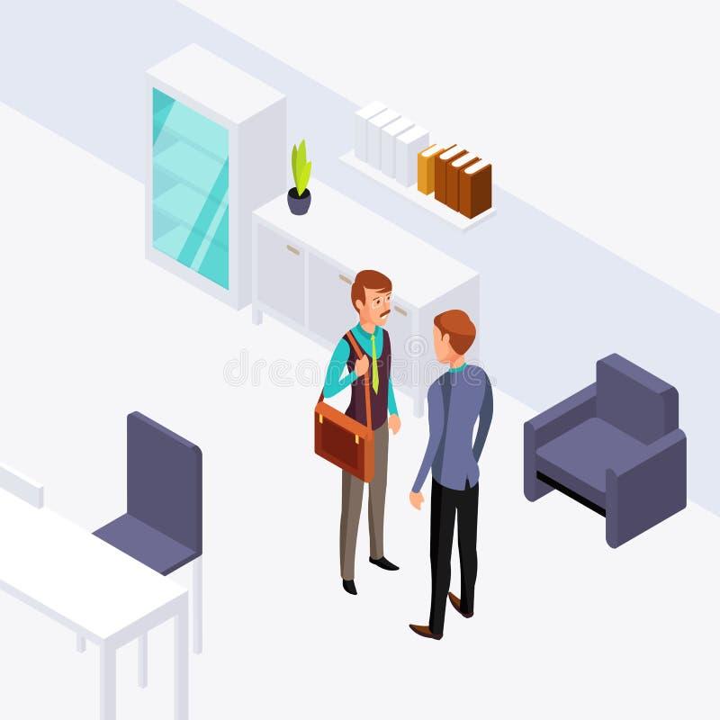Иллюстрация переговора офиса 2 бизнесменов Концепция вектора равновеликая плоская иллюстрация штока