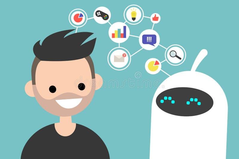 Иллюстрация передачи данных схематическая Communica человека и робота иллюстрация штока