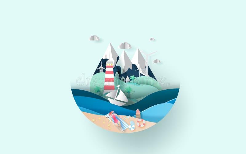 Иллюстрация перемещения в концепции круга сезона лета каникул праздника, творческая женщина дамы летнего времени загорая на идее  бесплатная иллюстрация
