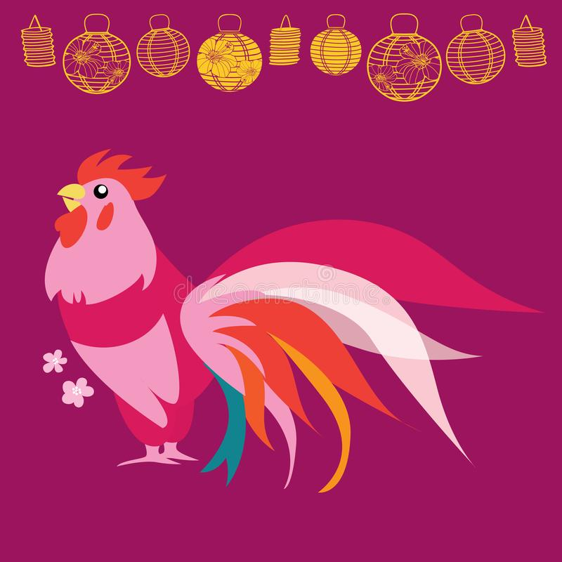 Иллюстрация петуха пинка Нового Года вектора китайская с фонариками иллюстрация штока