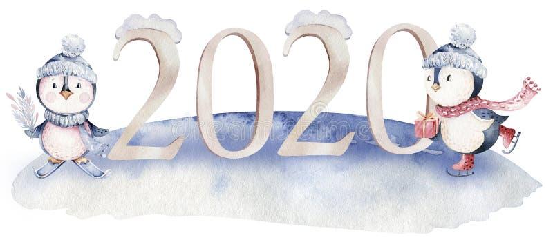 Иллюстрация пингвина характера веселого рождества акварели Карта дизайна зимы изолированная мультфильмом милая смешная животная С стоковое фото