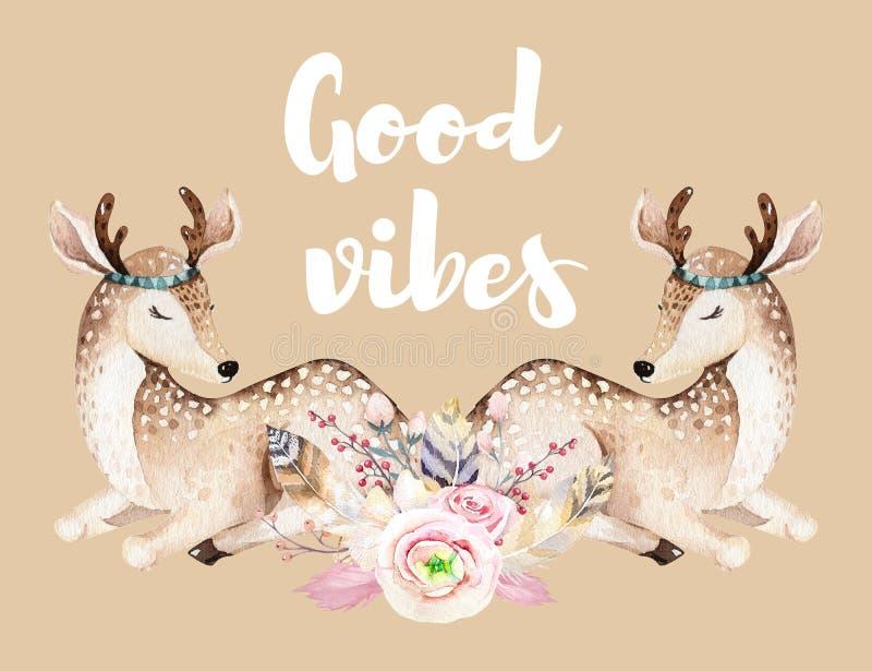 Иллюстрация питомника милых оленей младенца животная для детей Приглашение дня рождения шаржа леса boho акварели patry иллюстрация штока