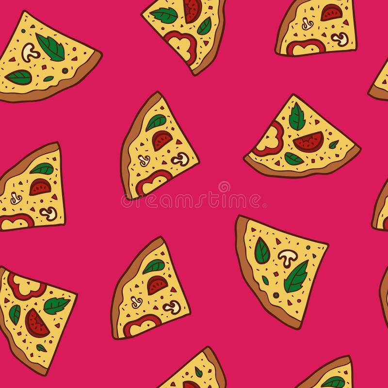 Иллюстрация пиццы, безшовная картина иллюстрация вектора