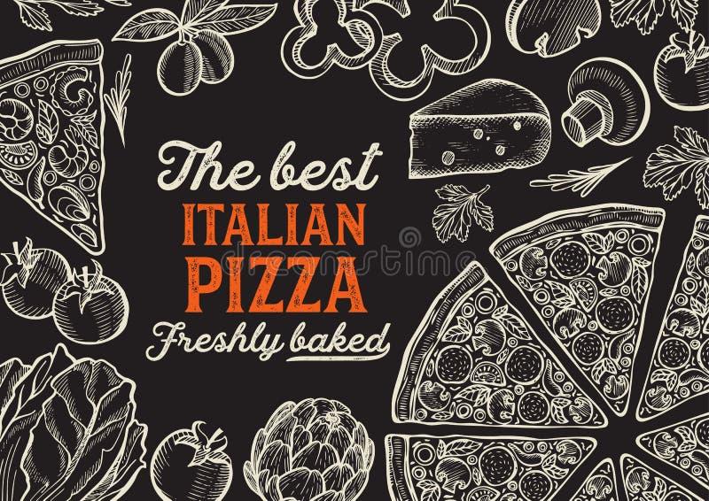 Иллюстрация пиццы для итальянского ресторана кухни иллюстрация штока