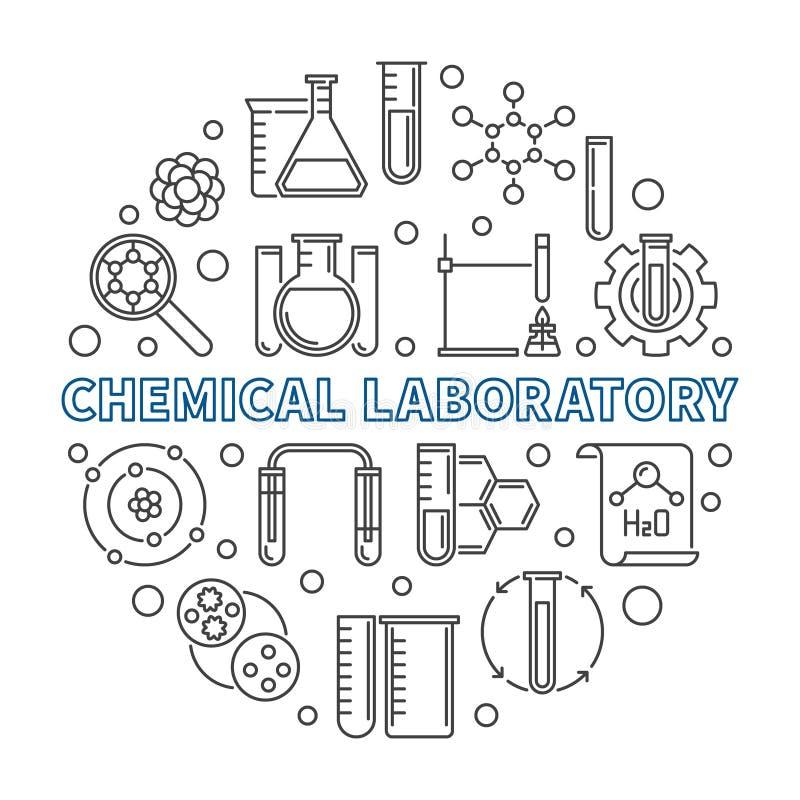 Иллюстрация плана концепции вектора химической лаборатории круглая иллюстрация вектора