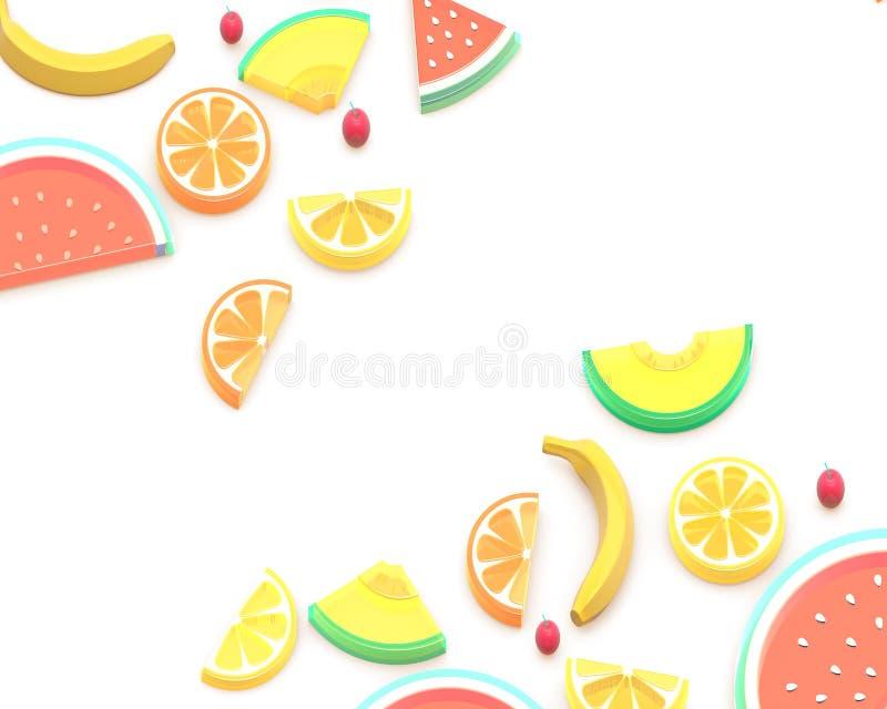 Иллюстрация плодов 3D лета равновеликая, арбуз, дыня, апельсин, лимон, грейпфрут, вишня, банан Состав предпосылки иллюстрация штока