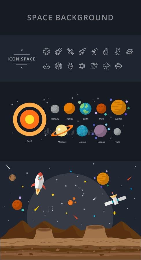 Иллюстрация плоских значков космоса сине- стоковое фото rf