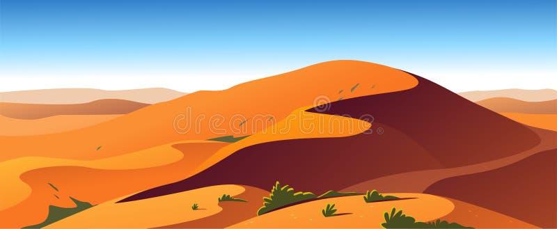 Иллюстрация плоского ландшафта вектора minimalistic горячего взгляда природы пустыни: небо, дюны, песок, заводы иллюстрация вектора