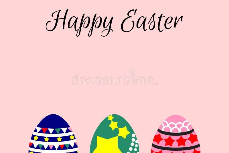 Иллюстрация плоского шаржа дизайна, пасхальные яйца, на розовой предпосылке Время весны и пасхи родственное иллюстрация штока