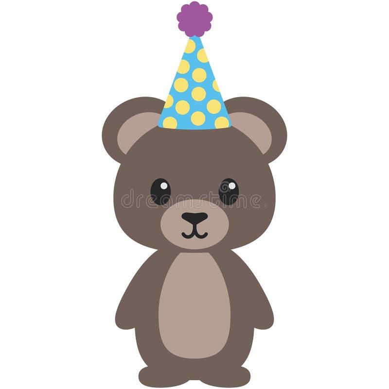 Иллюстрация плюшевого медвежонка полесья дня рождения иллюстрация вектора