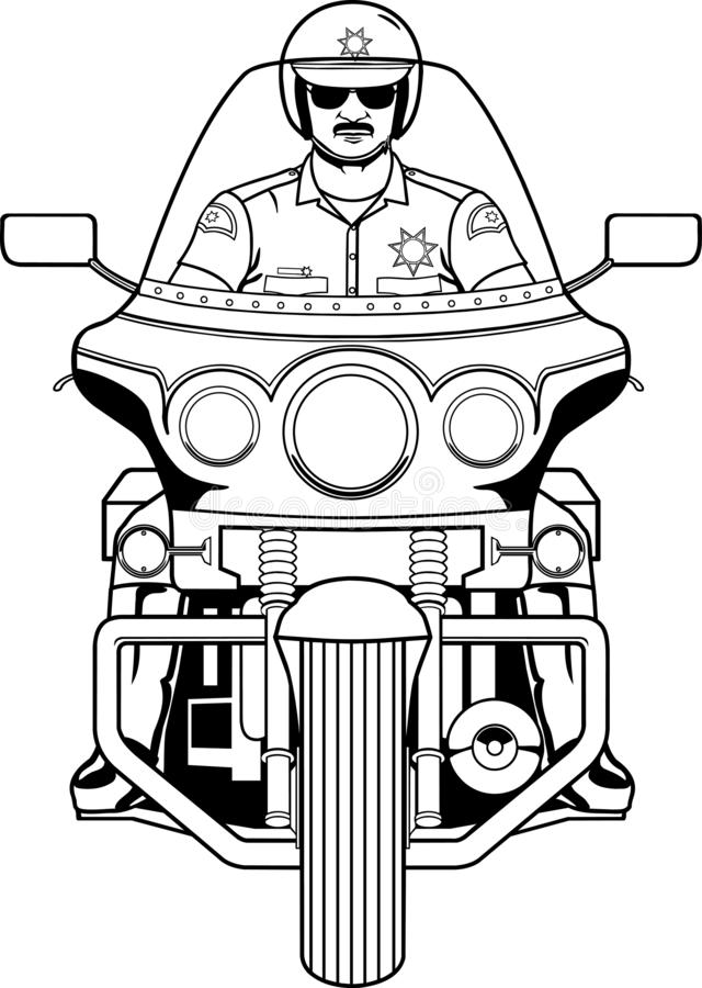 Иллюстрация полисмена мотоцикла иллюстрация штока