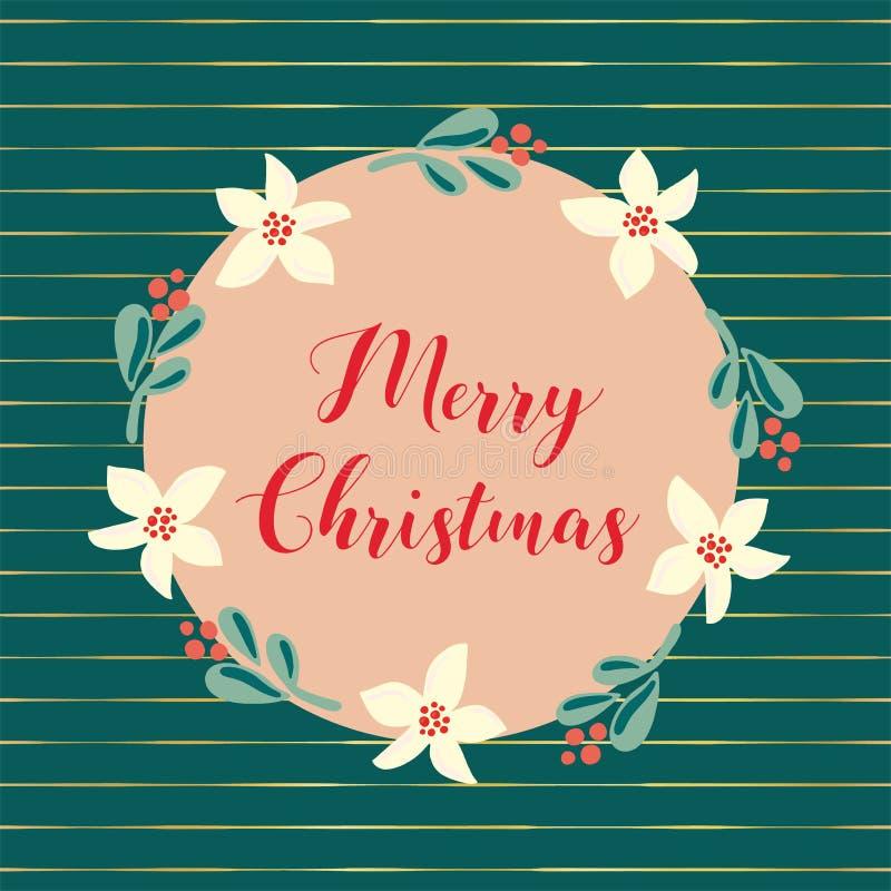 Иллюстрация праздника рождества вектора руки веселого рождества вычерченная Венок омелы и цветка на предпосылке teal с сусальным  иллюстрация вектора