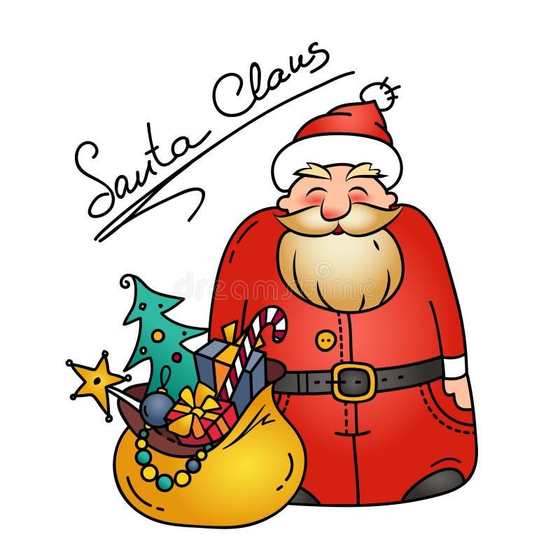 Иллюстрация праздника с смешным Санта Клаусом и сумкой подарков характер рождества Символ рождества иллюстрация штока