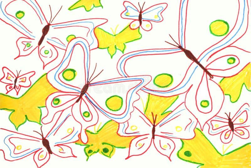 Иллюстрация предпосылки акварели Бабочки акварели на белой предпосылке иллюстрация штока