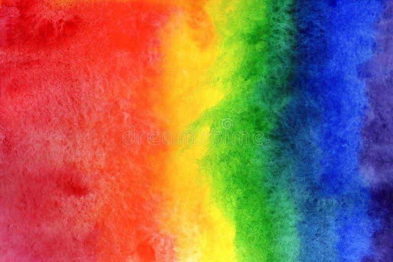 Иллюстрация предпосылки акварели Градиент радуги акварели на бумаге иллюстрация вектора