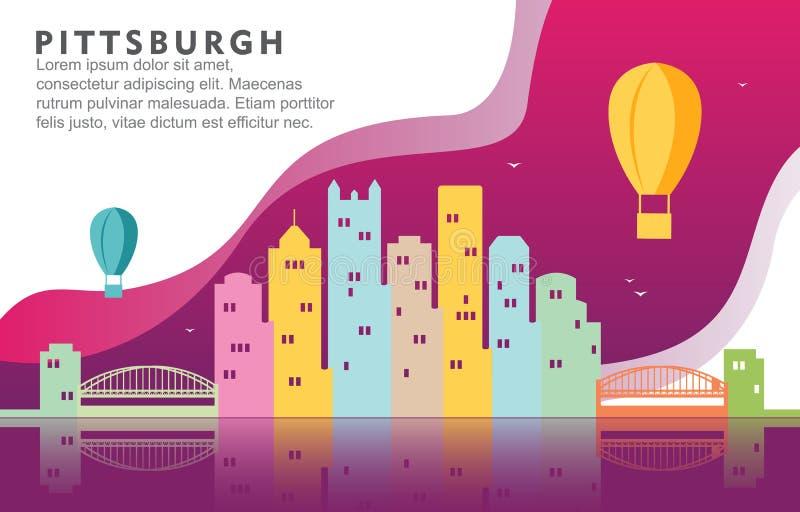 Иллюстрация предпосылки горизонта городского пейзажа здания города Питтсбург Пенсильвании динамическая иллюстрация штока