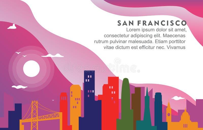 Иллюстрация предпосылки горизонта городского пейзажа здания города Сан-Франциско Калифорния динамическая иллюстрация штока