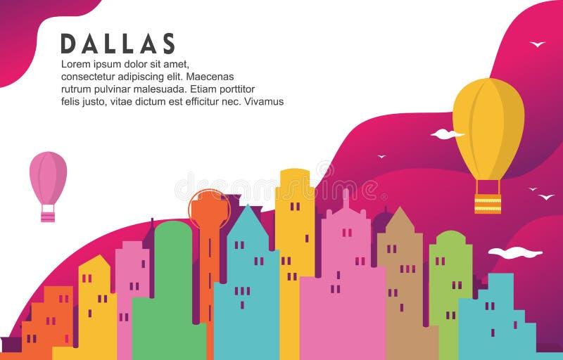 Иллюстрация предпосылки горизонта городского пейзажа здания города Даллас Техаса динамическая иллюстрация вектора