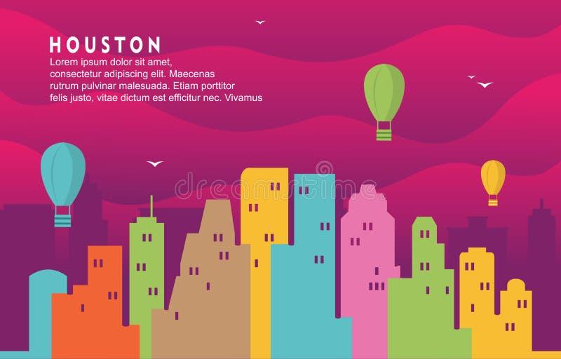 Иллюстрация предпосылки горизонта городского пейзажа здания города Хьюстон Техаса динамическая иллюстрация штока
