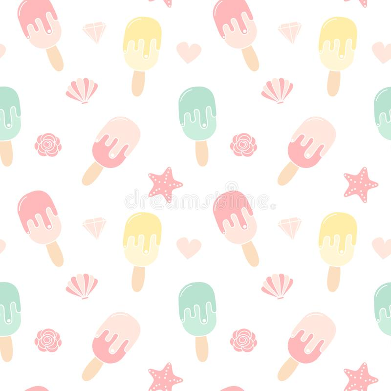 Иллюстрация предпосылки картины вектора милого красочного мороженого безшовная иллюстрация вектора