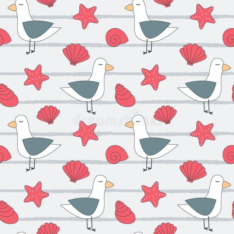 Иллюстрация предпосылки картины вектора милого лета безшовная с чайками, seashells и морскими звёздами бесплатная иллюстрация