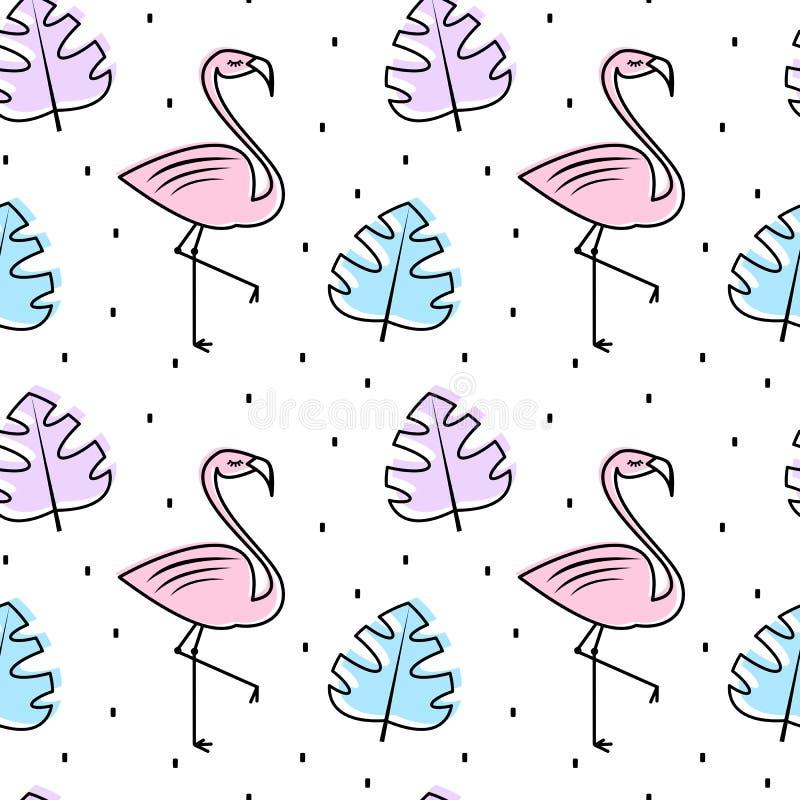 Иллюстрация предпосылки картины вектора милого лета красочная безшовная с экзотическими листьями и фламинго иллюстрация штока