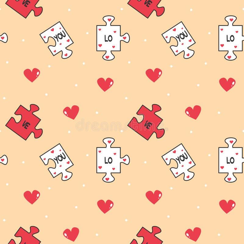 Иллюстрация предпосылки картины вектора милого мультфильма романтичная безшовная с частями и сердцами головоломки иллюстрация штока