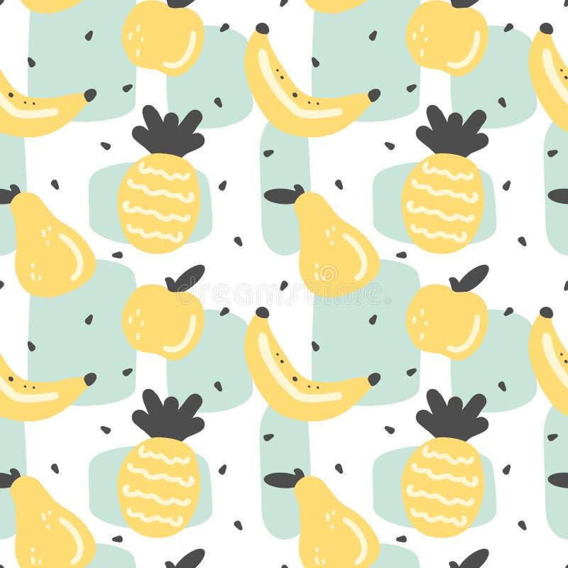 Иллюстрация предпосылки картины вектора милого современного лета безшовная с лимоном, куском лимона, абстрактными элементами, сем иллюстрация вектора