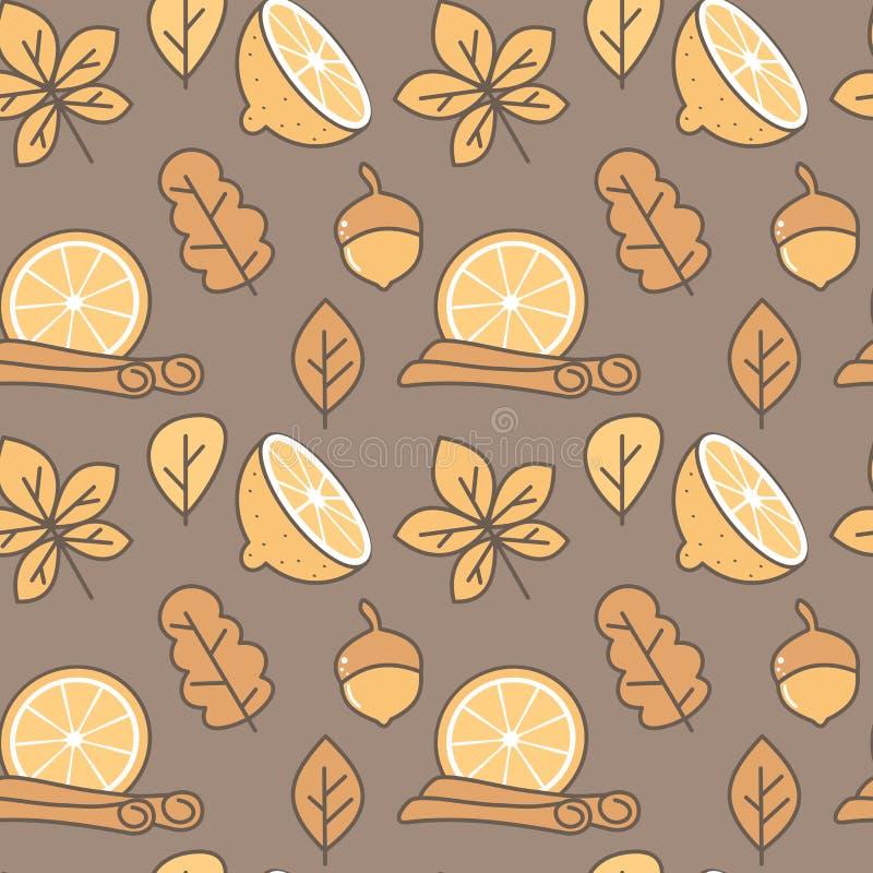 Иллюстрация предпосылки картины вектора милой осени падения безшовная с листьями, циннамоном, жолудями и апельсином и куском лимо бесплатная иллюстрация